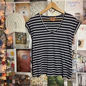 TORY BURCH | navy striped jersey material tee top